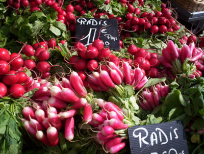 radishes at the market in Nice