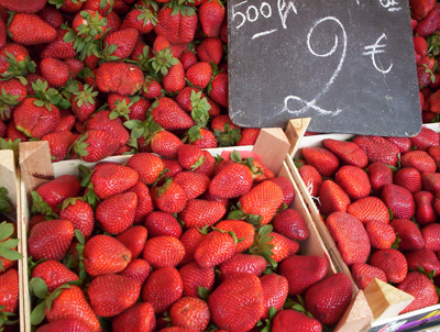 strawberries at the market in Nice